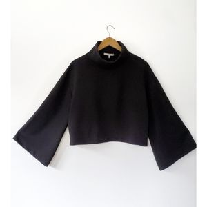 Oak + Fort Black Cropped Bell Sleeve Sweater | OS